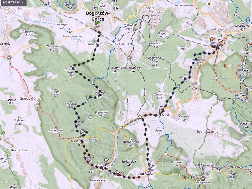trasa wyjazdu z psem w góry